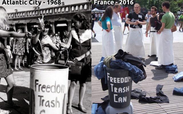 Jetés de soutien-gorges en 1968 et de pantalons en 2016